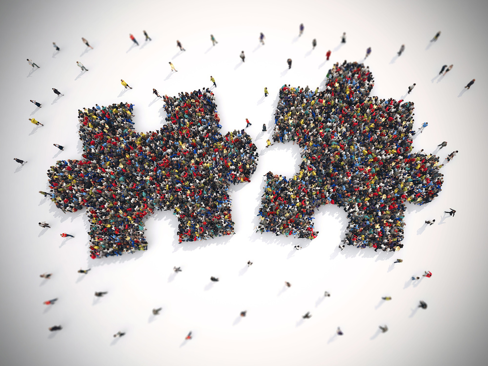 3D Rendering of people united form two pieces of puzzle